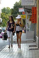 """BULGARIEN, 09.2009.Sliven.Diese zentralbulgarische Industriestadt ist einer der wichtigsten Herkunftsorte fuer in Westeuropa arbeitende Prostituierte:. Das Neubauviertel """"Klein-Amsterdam"""" rund um die General-Dragomirov-Str. Vor allem hier eroeffnen Ex-Prostituierte und Zuhaelter nach ihrer Rueckkehr Geschaefte. Oft schaffen sie damit Arbeitsplaetze fuer andere Frauen, bleiben aber meist im mafioesen Milieu. Kundinnen unterwegs..This central-bulgarian industrial town is one of the main origins of prostitutes for Western Europe, especially Belgium and Holland:.The newly constructed quarter around General Dragomirov street, nicknamed """"Little Amsterdam"""". Especially here ex-prostitutes and pimps returning home open businesses. They often manage to create jobs for other women but tend to stay close to mafia economy. Customers on tour. © Martin Fejer/EST&OST"""