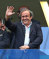 UEFA president Michel Platini waves from the stands