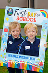 Twins Micheal and Eamon on their first day of school in St Oliver NS on Wednesday
