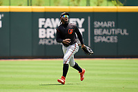 FCL Orioles Orange outfielder Isaac Bellony (53) catches a fly ball during a game against the FCL Braves on July 22, 2021 at the CoolToday Park in North Port, Florida.  (Mike Janes/Four Seam Images)