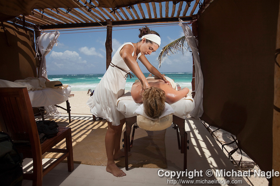 TULUM, MEXICO - APRIL 29, 2009: Massage at Ocho Tulum on April 29, 2009 in Tulum, Mexico.  (PHOTOGRAPH BY MICHAEL NAGLE)
