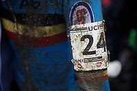 muddy #24 post-race<br /> <br /> Junior Men's race<br /> UCI 2016 cyclocross World Championships