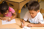 Preschool 4 year olds boy and girl sitting side by side drawing with markers using opposite hands