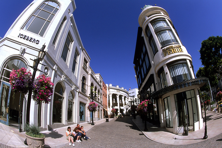Famous Rodeo Drive shopping upscale and expensive in Los Angeles California near Wilshire Blv