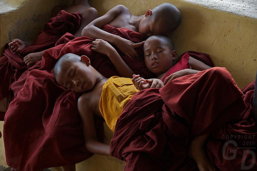 Sleeping Monks at the Inle Lake Monastery,Inle Lake Festival - Inle Lake, Shan State, Myanmar