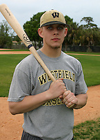 Brandon Snyder of Westfield High School poses for a photo after practice during his teams spring trip on March 20, 2005 in Florida.  (Mike Janes/Four Seam Images)
