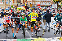 14th July 2021, Muret,  France; POGACAR Tadej (SLO) of UAE TEAM EMIRATES, CAVENDISH Mark (GBR) of DECEUNINCK - QUICK-STEP, POELS Wouter (NED) of BAHRAIN VICTORIOUS before stage 17 of the 108th edition of the 2021 Tour de France cycling race, a stage of 178,4 kms between Muret and Saint-Lary-Soulan.