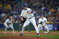 LSU Tigers starting pitcher Cole Henry (18) in action against the Texas Longhorns in game three of the 2020 Shriners Hospitals for Children College Classic at Minute Maid Park on February 28, 2020 in Houston, Texas. The Tigers defeated the Longhorns 4-3. (Brian Westerholt/Four Seam Images)