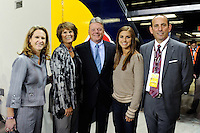 Kathy Carter, Panasonic NA CEO Joe Taylor, Alex Morgan, Don Garber. The men's national team of the United States (USA) was defeated by Ecuador (ECU) 1-0 during an international friendly at Red Bull Arena in Harrison, NJ, on October 11, 2011.
