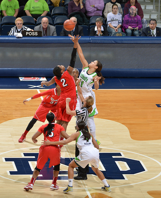 Jan 20, 2013; Natalie Achonwa (11) and St. John's Red Storm forward Amber Thompson (2) jump for the opening tip in the first half at the Purcell Pavilion. <br /> <br /> Photo by Matt Cashore