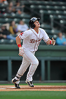 Center fielder Tate Matheny (16) of the Greenville Drive bats in a game against the Charleston RiverDogs on Tuesday, May 17, 2016, at Fluor Field at the West End in Greenville, South Carolina. Greenville won, 4-2. (Tom Priddy/Four Seam Images)