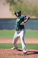 Oakland Athletics relief pitcher Jeferson Mejia (73) during a Minor League Spring Training game against the Chicago Cubs at Sloan Park on March 19, 2018 in Mesa, Arizona. (Zachary Lucy/Four Seam Images)