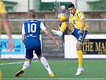 Montrose v St Johnstone….16.07.19      Links Park     Betfred Cup       <br />Wallace Duffy clears from Russell McLean<br />Picture by Graeme Hart. <br />Copyright Perthshire Picture Agency<br />Tel: 01738 623350  Mobile: 07990 594431