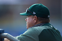 Oakland Athletics scout Neil Avent watches from the dugout during game four of the South Atlantic Border Battle at Truist Point on September 27, 2020 in High Pont, NC. (Brian Westerholt/Four Seam Images)