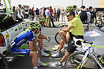 Liquigas-Cannondale team riders relax before the start of Stage 1 of the Tour of Qatar 2012 running 142.5km from Barzan Towers to Doha Golf Club, Doha, Qatar. 5th February 2012.<br /> (Photo by Eoin Clarke/NEWSFILE).