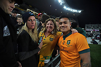 Fans with Leni Ikitau after the Bledisloe Cup rugby match between the New Zealand All Blacks and Australia Wallabies at Eden Park in Auckland, New Zealand on Saturday, 7 August 2021. Photo: Dave Lintott / lintottphoto.co.nz