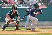 Dwight Smith (25) of the New Hampshire Fisher Cats bats during a game between the New Britain Rock Cats and the New Hampshire Fisher Cats at New Britain Stadium on April 19, 2015 in New Britain, Connecticut.<br /> (Gregory Vasil/Four Seam Images)