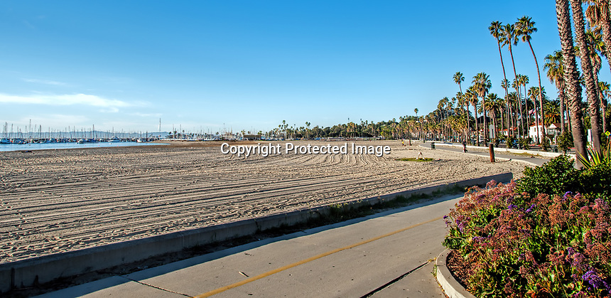 A view of the main beach by the pier one January morning, Santa Barbara, California.