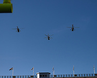 Military helicopters fly over the stadium before the game. The Pittsburgh Panthers defeated the Navy Midshipmen 27-14 at Heinz Field, Pittsburgh, PA.