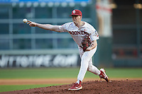 Oklahoma Sooners relief pitcher Wyatt Olds (15) delivers a pitch to the plate against the Arkansas Razorbacks in game two of the 2020 Shriners Hospitals for Children College Classic at Minute Maid Park on February 28, 2020 in Houston, Texas. The Sooners defeated the Razorbacks 6-3. (Brian Westerholt/Four Seam Images)