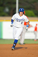 Chase Vallot (8) of the Burlington Royals round the bases after hitting a solo home run in the bottom of the first inning against the Greeneville Astros at Burlington Athletic Park on June 30, 2014 in Burlington, North Carolina.  The Royals defeated the Astros 9-8. (Brian Westerholt/Four Seam Images)
