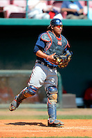Atlanta Braves catcher Carlos Sanchez #40 during a minor league Spring Training game against the Philadelphia Phillies at Al Lang Field on March 14, 2013 in St. Petersburg, Florida.  (Mike Janes/Four Seam Images)
