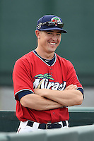 Fort Myers Miracle pitcher Tim Shibuya (19) before a game against the Tampa Yankees on April 15, 2015 at Hammond Stadium in Fort Myers, Florida.  Tampa defeated Fort Myers 3-1 in eleven innings.  (Mike Janes/Four Seam Images)
