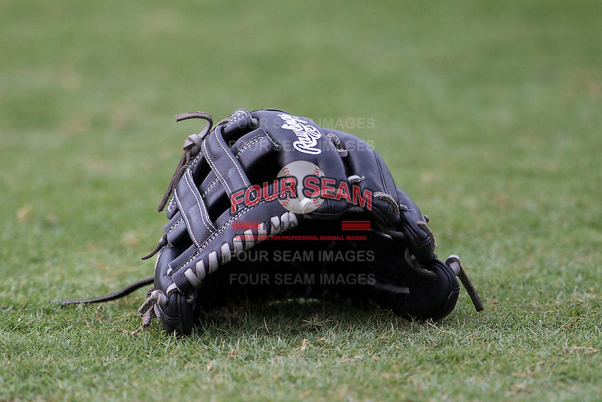 Baseball glove on June 22, 2014 at the Dell Diamond in Round Rock, Texas. (Andrew Woolley/Four Seam Images)