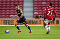 13th March 2021; Riverside Stadium, Middlesbrough, Cleveland, England; English Football League Championship Football, Middlesbrough versus Stoke City; Tommy Smith of Stoke City on the ball watched by Neeskens Kebano of Middlesbrough
