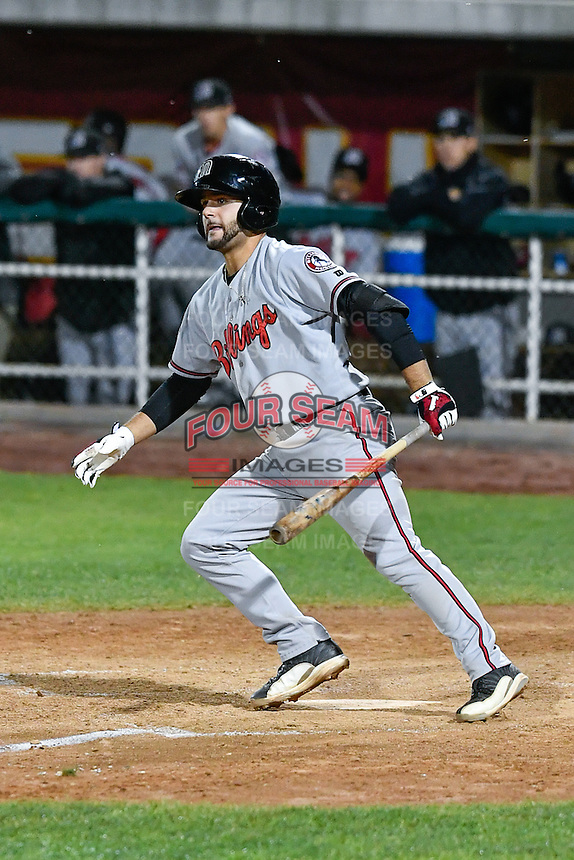 John Sansone (26) of the Billings Mustangs follows through on his swing against the Orem Owlz in Game 2 of the Pioneer League Championship at Home of the Owlz on September 16, 2016 in Orem, Utah. Orem defeated Billings 3-2 and are the 2016 Pioneer League Champions. (Stephen Smith/Four Seam Images)