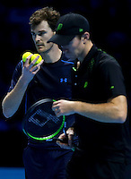 Jamie Murray of Great Britain and his doubles partner John Peers of Australia in action at the ATP World Tour Finals, The O2, London, 2015