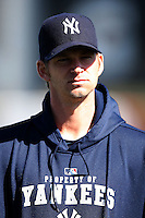 February 25, 2010:  Pitcher A.J. Burnett of the New York Yankees during practice at Legends Field in Tampa, FL.  Photo By Mike Janes/Four Seam Images