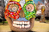 "Sculptures by artist Niki de Saint Phalle took up temporary residence at The Green in uptown Charlotte between March 18 and Oct. 3, 2011. The Green is a 1.5-acre urban park located in the heart of Charlotte. It is home to many sculptures and public art. The temporary exhibit of five large-scale outdoor works was presented by the Bechtler Museum of Art. Shown is ""La Cabeza."""
