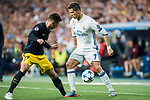 Cristiano Ronaldo (r) of Real Madrid competes for the ball with Lucas Hernandez of Atletico de Madrid during their 2016-17 UEFA Champions League Semifinals 1st leg match between Real Madrid and Atletico de Madrid at the Estadio Santiago Bernabeu on 02 May 2017 in Madrid, Spain. Photo by Diego Gonzalez Souto / Power Sport Images