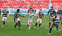 20th February 2021; Welford Road Stadium, Leicester, Midlands, England; Premiership Rugby, Leicester Tigers versus Wasps; Ben Vellacott of Wasps and Kini Murimurivalu of Leicester Tigers chase a loose ball