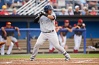 Staten Island Yankees catcher Jerry Seitz (34) at bat during a game against the Batavia Muckdogs on August 27, 2016 at Dwyer Stadium in Batavia, New York.  Staten Island defeated Batavia 13-10 in eleven innings.  (Mike Janes/Four Seam Images)