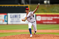 Tennessee Smokies starting pitcher Luis Lugo (45) delivers a pitch to the plate against the Montgomery Biscuits on May 9, 2021, at Smokies Stadium in Kodak, Tennessee. (Danny Parker/Four Seam Images)