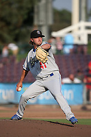 Parker Curry (41) of the Rancho Cucamonga Quakes pitches against the Inland Empire 66ers at San Manuel Stadium on July 9, 2017 in San Bernardino, California. Inland Empire defeated Rancho Cucamonga 12-2. (Larry Goren/Four Seam Images)