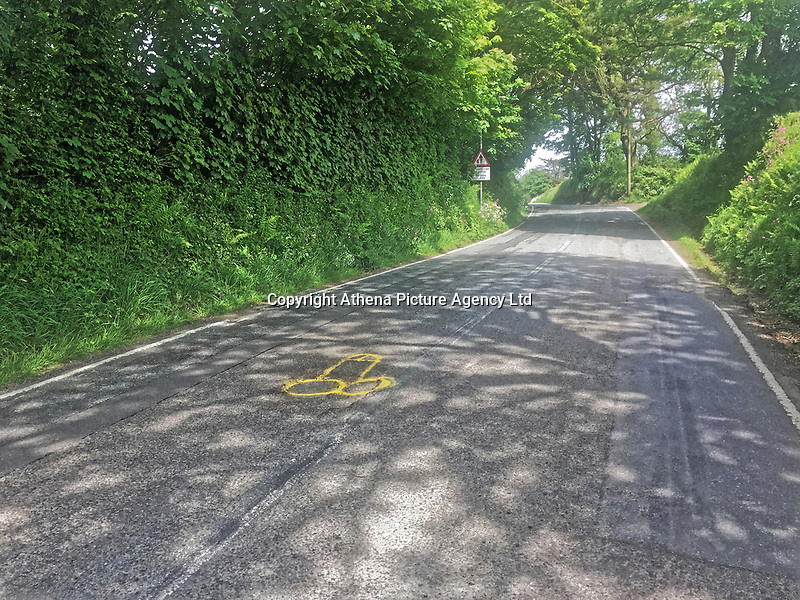 """Pictured: The phallic shaped yellow graffiti highlighting a pothole near Crundale, west Wales, UK.<br /> Re: Pembrokeshire hyas been struck by a notorious mystery graffiti artist known for using obscene images to highlight the blight of potholes.<br /> A bright yellow spray painted penis has been spotted scrawled over a pothole near Crundale, west Wales.<br /> The piece of graffiti was potentially inspired by a protest artist known as Wanksy, who began spray painting penises onto potholes around Greater Manchester in 2015 and gained a viral following.<br /> This treatment has since become the hallmark of a UK-wide phenomenon where residents take pothole management into their own hands. <br /> Wanksies have arisen to protest potholes in Cambridgeshire and Essex in the last few years, among other places.<br /> A motorist who did not wish to be named spotted the piece of graffiti.<br /> """"I was shocked and appalled when I saw it, that sort of thing really rubs me up the wrong way,"""" said the motorist.<br /> """"I was just driving home for lunch. I had to pull off the road when I noticed it,"""" they added.<br /> """"Obviously potholes are a pain, but is this the way to highlight them? I don't think so: someone needs a stiff talking to!"""""""