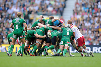 The front rows pop up during the Premiership Rugby Round 1 match between London Irish and Harlequins at Twickenham Stadium on Saturday 6th September 2014 (Photo by Rob Munro)