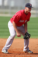 March 18, 2010:  Third Baseman Will Middlebrooks of the Boston Red Sox organization during Spring Training at Ft.  Myers Training Complex in Fort Myers, FL.  Photo By Mike Janes/Four Seam Images