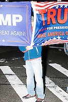 People affiliated with Latinos for Trump gathered outside Trump Tower in New York, New York, on Mon., Nov. 7, 2016, the day before the 2016 presidential election. There were pockets of anti-Trump protesters, but most there were demonstrating in favor of the Republican presidential nominee or against Democratic presidential nominee Hillary Clinton.