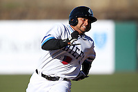 Syracuse Chiefs catcher Jhonatan Solano #20 runs the bases during the opening game of the International League season against the Rochester Red Wings at Alliance Bank Stadium on April 5, 2012 in Syracuse, New York.  Rochester defeated Syracuse 7-4.  (Mike Janes/Four Seam Images)