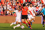 Son Heungmin of South Korea (C) fights for the ball with Abdulwahab Ali Alsafi of Bahrain (L) during the AFC Asian Cup UAE 2019 Round of 16 match between South Korea (KOR) and Bahrain (BHR) at Rashid Stadium on 22 January 2019 in Dubai, United Arab Emirates. Photo by Marcio Rodrigo Machado / Power Sport Images
