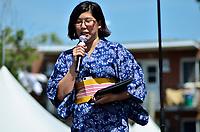Montreal (Qc) CANADA - August 13, 2011 - Jennifer Sakai, Présidente du Matsuri-Japon a  bien sûr souhaité à tous la Bienvenue au 10ième anniversaire du Matsuri Japon et à mentionné que même si ''la communauté Japonaise à Montréal n'est pas très grande, chaque année notre festival attire de plus en plus de visiteurs.''. Elle aussi à pris le temps de remercier tous les individus impliqués dans l'événement.