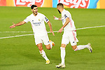 Real Madrid's Karim Benzema (r) and Marco Asensio celebrate goal during UEFA Champions League match. November 3,2020.(ALTERPHOTOS/Acero)