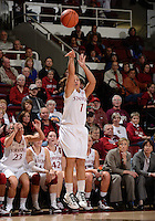 STANFORD, CA - DECEMBER 28: Grace Mashore of Stanford women's basketball puts up a 3-point shot in a game against Xavier on December 28, 2010 at Maples Pavilion in Stanford, California.  Stanford topped Xavier, 89-52.