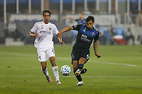 SAN JOSE, CA - SEPTEMBER 13: Oswaldo Alanis #4 of the San Jose Earthquakes plays the ball during a game between Los Angeles Galaxy and San Jose Earthquakes at Earthquakes Stadium on September 13, 2020 in San Jose, California.