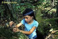 DT01-001z  Forest - girl collecting organisms from soil, log