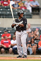 San Antonio Missions outfielder Rymer Liriano (23) at bat during a game against the Arkansas Travelers on May 24, 2014 at Dickey-Stephens Park in Little Rock, Arkansas.  Arkansas defeated San Antonio 4-2.  (Mike Janes/Four Seam Images)